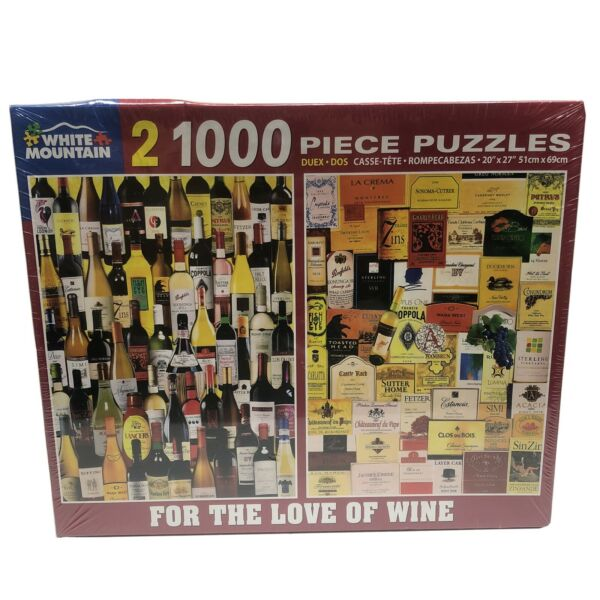White Mountain For The Love of Wine 2 Jigsaw PUZZLES 1000 pc each 20quot;x27quot; NEW $35.99