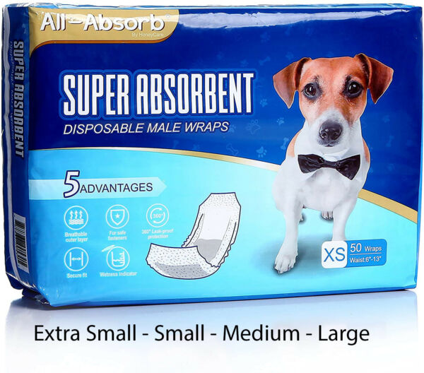 50 Pack Waist Disposable Dog Diapers Male Wraps Belly Bands Pet Soft XS S M L XL $28.99