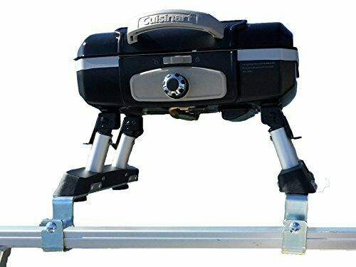 Cuisinart Grill Modified for Pontoon Boat with Arnall#x27;s Grill Bracket Set BLACK