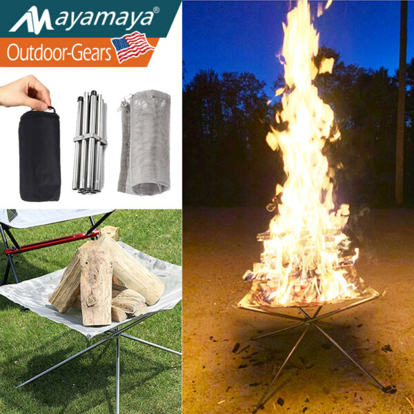 Portable Camping Fire Pit Folding Outdoor Wood Burning Cooking Bonfire Patio US $18.99