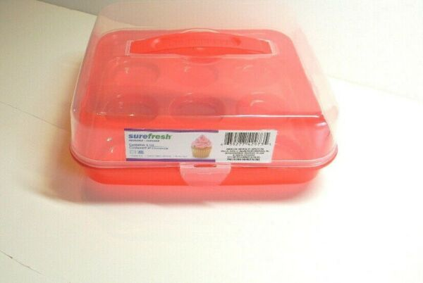 Sure Fresh Plastic Cupcake Carrier with Handle Holds 9 Cupcakes new