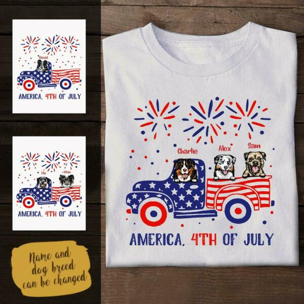 Funny Dog America 4th Of July Personalized T Shirt S 5XL $16.99