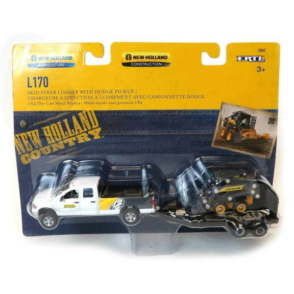 1 64 Dodge Pickup With Trailer And New Holland L170 Skid Steer 13862 ERT13862 $24.99