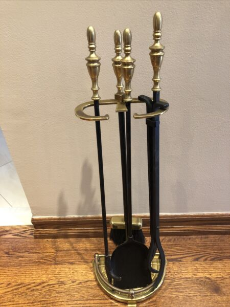Vintage Polished Brass Fireplace Tool Set 5 Piece Tools Stand Nice PreOwned
