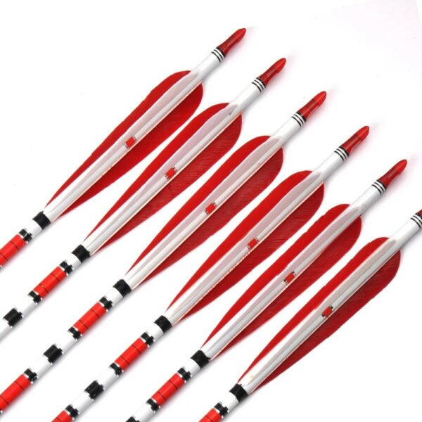 6Pcs 85cm Carbon Arrow Spine 500 OD 7.6mm Real Feather for Recurve Bow Archery $20.89