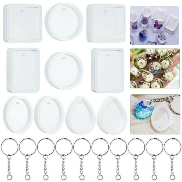 20pcs Resin Mold DIY Keychain Pendant Casting Silicone Mould with Keyrings Tool $7.75