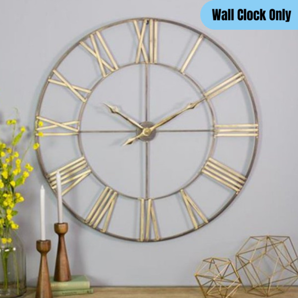 Oversized Round Metal Wall Clock Open Design Large Rustic Home Decor Brown Gold