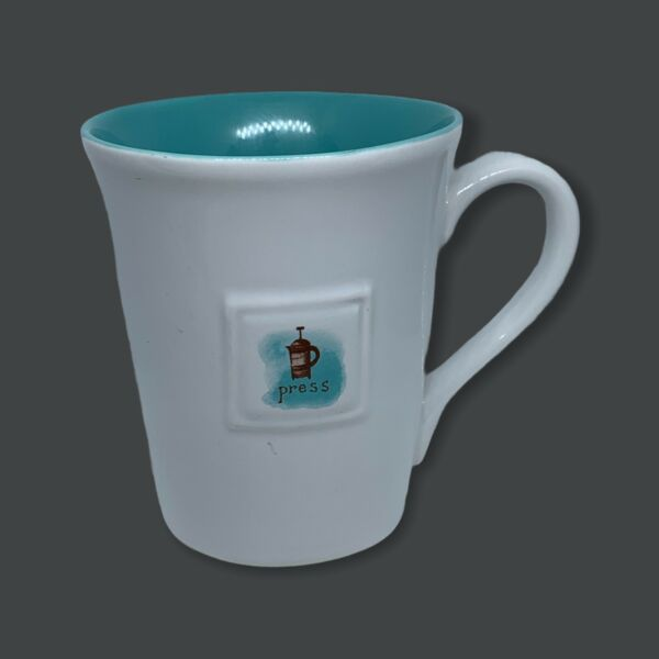 Starbucks 2006 French Press Coffee Cup Mug 14oz Tall White Turquoise No Chips