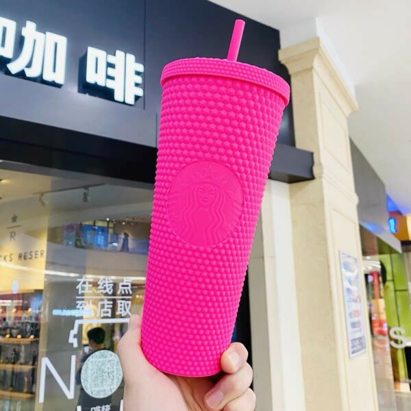 Starbucks 2021 China Butter Matte Studded 24oz Cup Tumbler Limited Barbie Pink