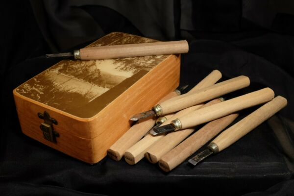 Vintage Box of Wood Carving tools Box CEH 1989 old tools from Japan