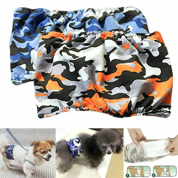 1 3Pack Pet Magasin Male Dog Belly Manner Band Wraps Nappies Washable Cloth S XL $14.87