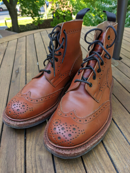 Tricker#x27;s Stow brogue boots in Moccasin Brown Aniline Leather UK 9.5
