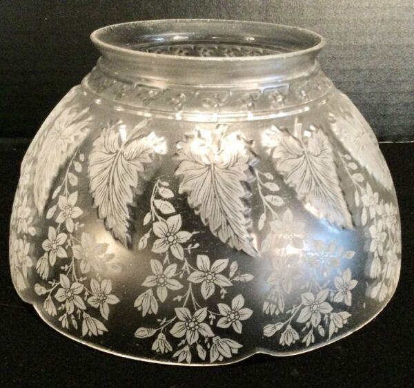 """Vintage Acid Etched Glass Crystal RAISED Pattern Gas Light Shade 4"""" Fitter $35.00"""