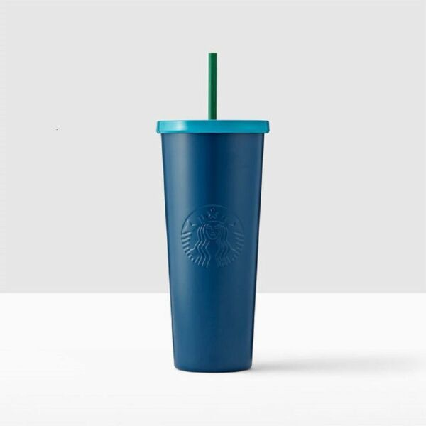 Starbucks Iced Coffee To Go Cold Cup Travel Tumbler Navy Blue Turquoise Aqua Lid