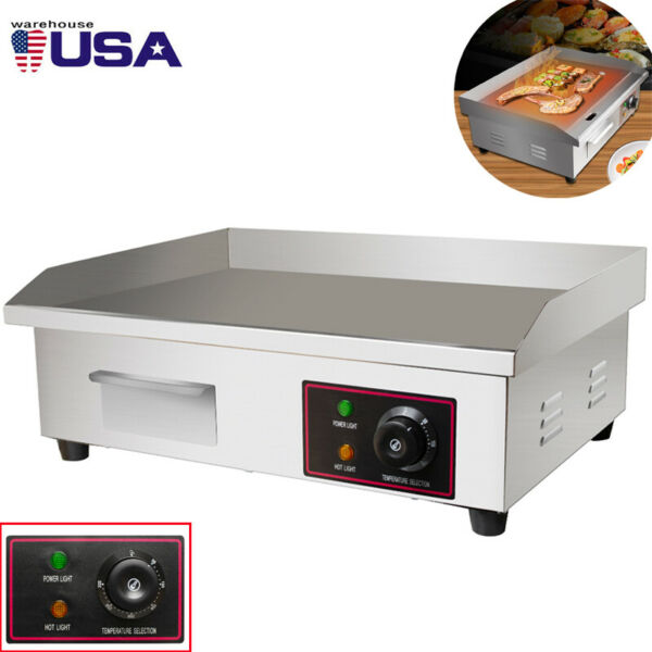 USA 22#x27;#x27; Commercial Electric Countertop Griddle Flat Top Grill Hot Plate BBQ S