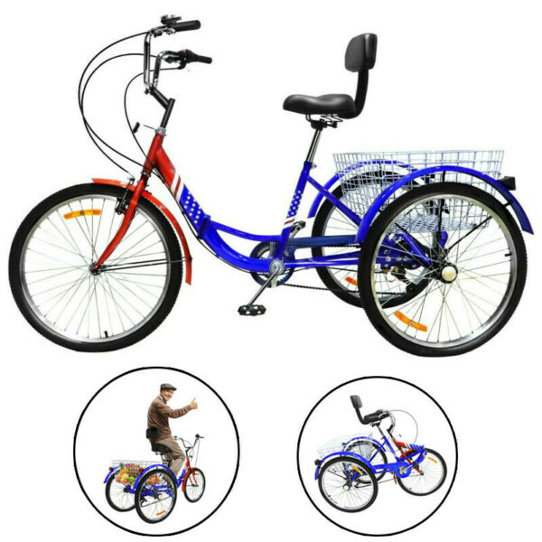 Adult Folding Tricycle Bike 3 Wheeler Bicycle Portable Tricycle Three wheeler $313.88