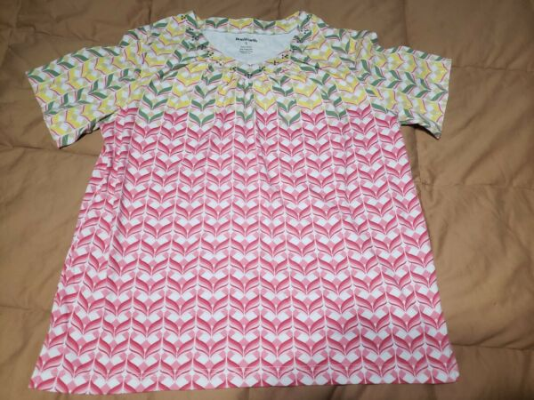 Bon Worth Womens Short Sleeve Pullover Geometric Multicolor Top Size S RN50132