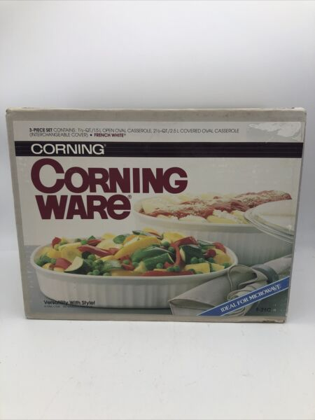 Corning Ware French White Casserole 3 Piece Set with Lid F 260 New In Box
