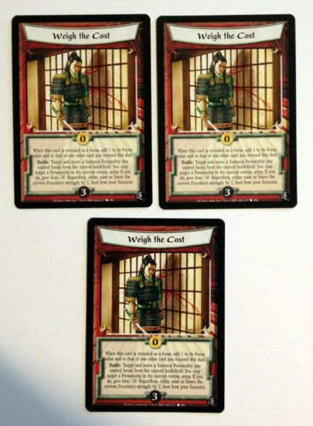Weigh the Cost 3 L5R Legend of the Five Rings CCG Lotus Edition $1.50