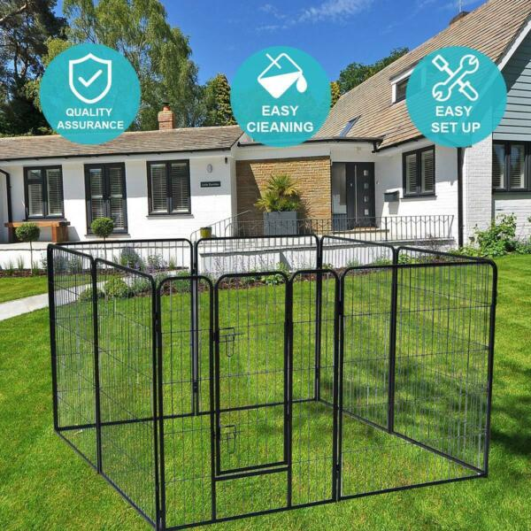 40#x27;#x27; 8 Panels Metal Dog Playpen Large Crate Fence Pet Play Pen Exercise Cage