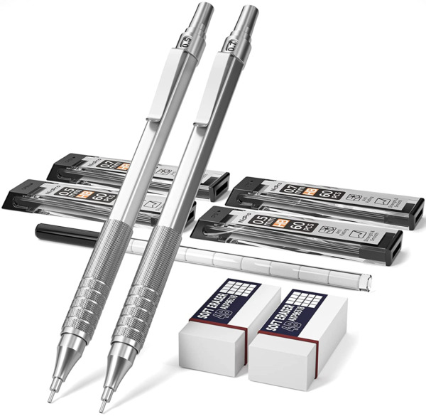 Nicpro Mechanical Pencils Set Metal Automatic Drafting Pencil 0.5 mm and 0.7 mm $16.70