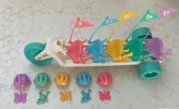 Tyco Quints Doll Bicycle for 5 Complete Set Helmets Flags Frogs Butterflies $26.50