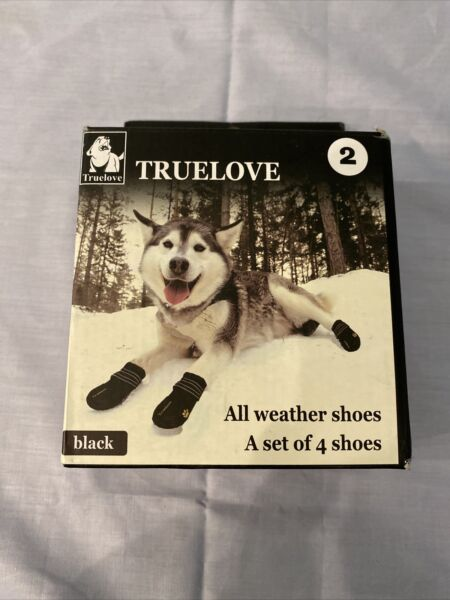 TrueLove Pet Black All Weather Dog Shoes Set Of 4 Size 2 $7.99