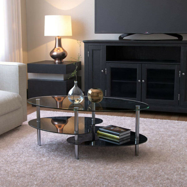 Stylish Oval Glass Side Coffee Table with Shelf Living Room Home Furniture Black