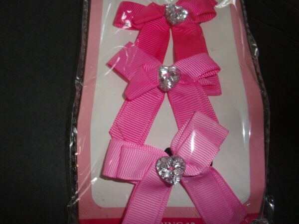 Double pink RIBBON Smoochie Pooch HAIRBOWS Dog bands puppy grooming set 3 bows $6.74