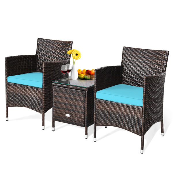 Patiojoy 3 PCS Rattan Wicker Furniture Sets Chairs Coffee Table Home Garden Blue