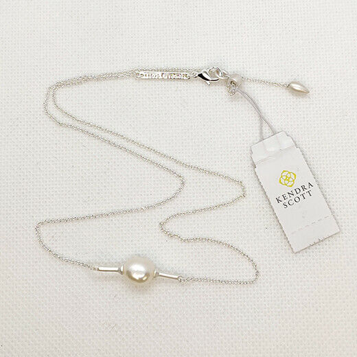 New Kendra Scott Emberly Pendant Necklace In Pearl Silver
