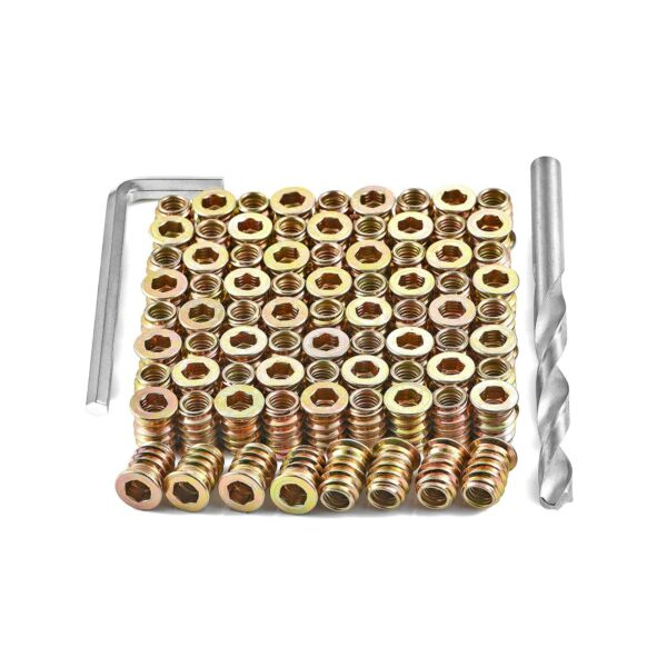 80 Pieces M6x15mm Wood Inserts Bolt Furniture Screw in Nut Threaded Fastener Con $16.71