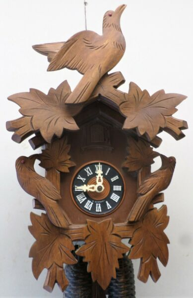 RARE LARGE GERMAN 8 DAY BLACK FOREST UNUSUAL 3 BIRD WORKING CARVED CUCKOO CLOCK