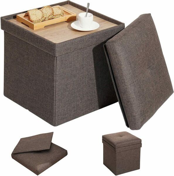 Brown Cube Storage Ottoman with TrayFolding Ottoman Coffee Table Footrest Stool