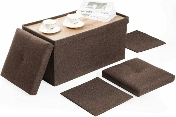 Brown 30quot;Storage Bench Lid with TrayFolding Ottoman Coffee Table Footrest Stool