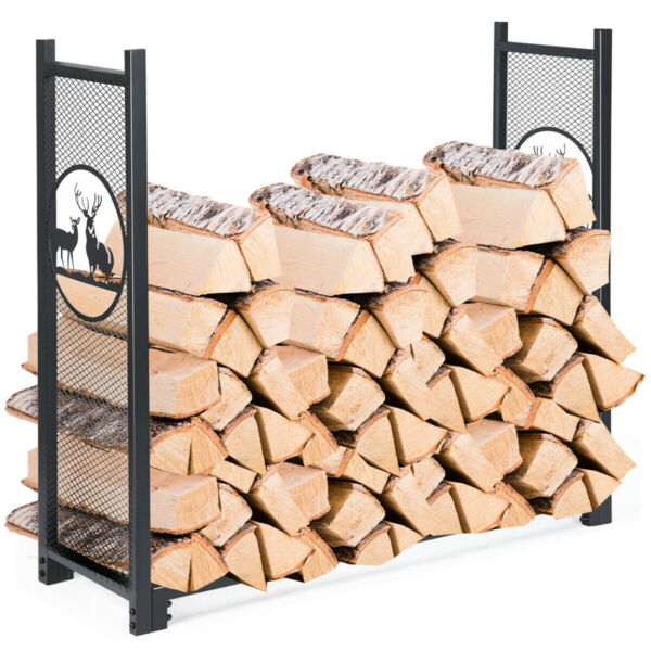 Gymax 4Ft Firewood Log Heavy Rack Duty Log Storage Holder For Fireplace Stove $69.51