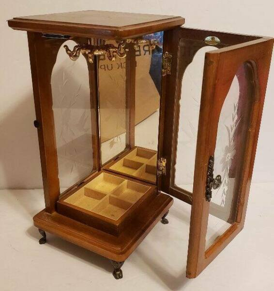 Vintage Wood amp; Etched Glass Jewelry Armoir Box With Swing Out Door