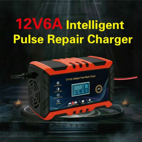 12V 6A Car Battery Charger smart Volt Motorcycle Battery Repair Type AGM Charger $17.99