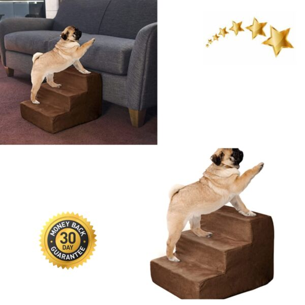 Pet Stairs Foam for Small Dogs Cats Removable Cover Non Slip Dog Stairs $30.16