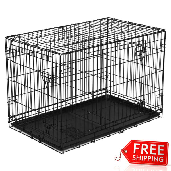 48quot; Dog Crate Kennel Folding Pet Cage Metal Double Door Tray Pan w Divider NEW $72.99