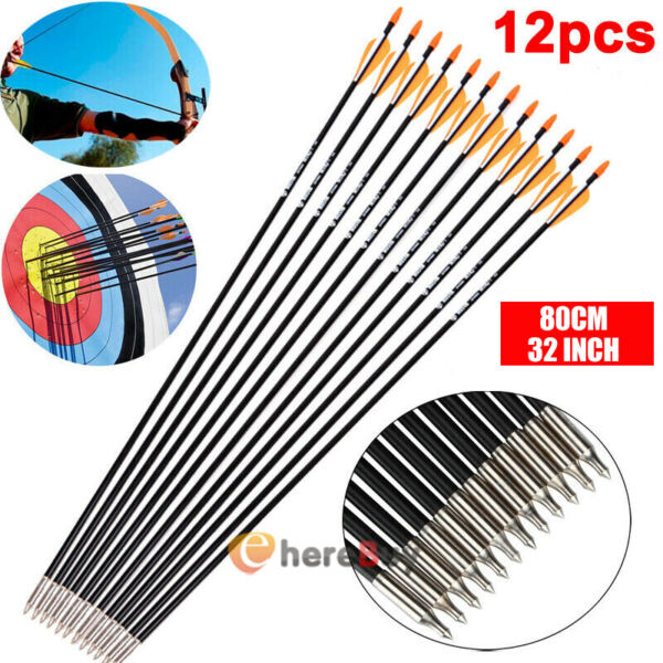 12xArchery 32#x27;#x27; Carbon Arrows Target Practice Hunting For Compound amp; Recurve Bow $24.99