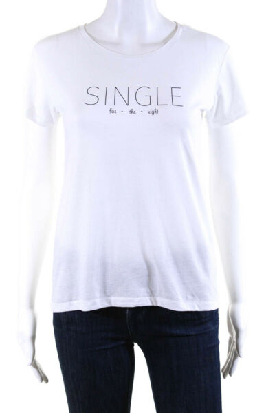 Bassigue Womens Single For The Night Tee Shirt White Cotton Size Medium $44.01