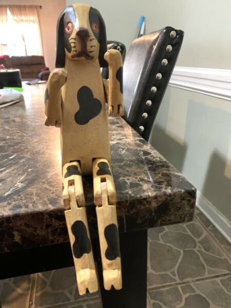 Hand Carved amp; Painted Jointed Wood Dog Tan amp; Black Puppy Sculpture Figurine