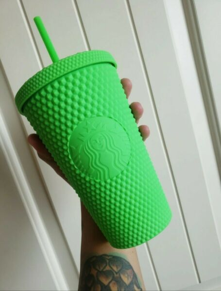 NWT Starbucks Neon Green Tumbler Fall 2021 Grande Studded Cold Cup
