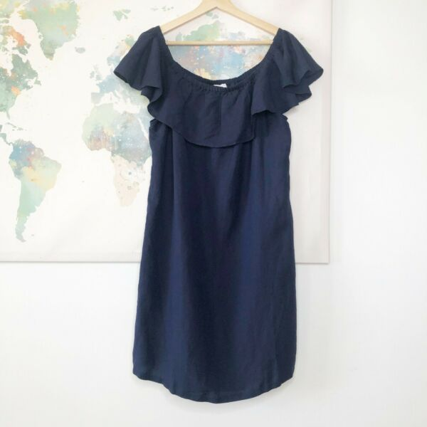 Tommy Bahama Size XL Dress Off the Shoulder Linen Blend Mare Navy Blue NWT $98 $47.99
