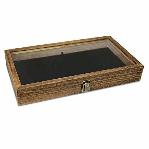 Mooca Wood Glass Top Jewelry Display Case Wooden Jewelry Tray for Collectibles $24.39