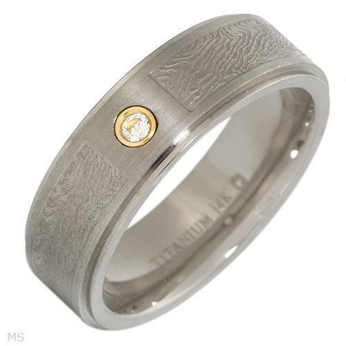 Dazzling  Gentlemens Band Ring WCZ in 14KTi Titanium