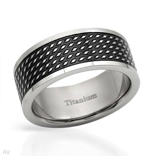 Dazzling Brand New Gentlemens Band Ring Crafted in two tone Titanium