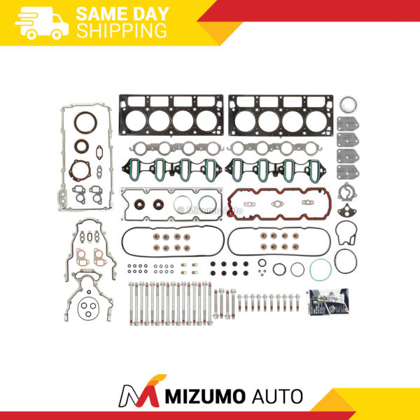 Full Gasket Set Head Bolts Fit 02 04 Cadillac Chevrolet GMC Buick 4.8 5.3 OHV