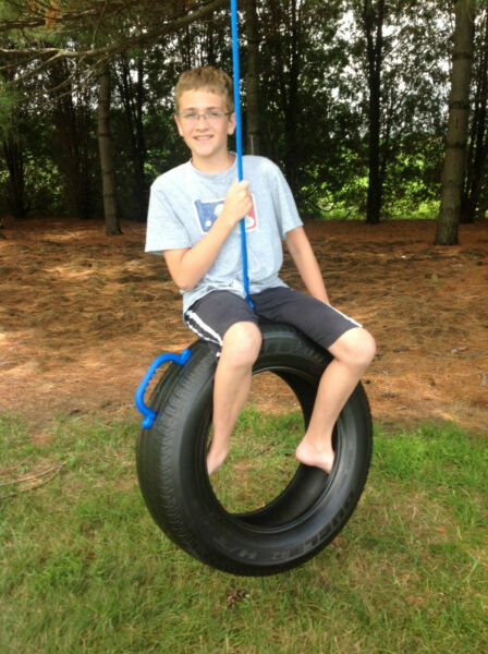 One Tire Swing made from real recycled Tire, Hang on tree Make backyard memories